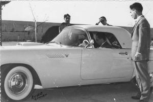 A very rare photo of HM King Hussein showing his cousin King Faisall II of Iraq a 1956 Ford Thunderbird. A similar car is on exihbition at the museum.