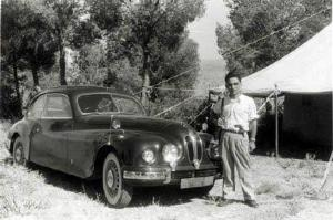 King Hussein on a hunting trip in front of his Bristol 401 Coupe. If you notice any similarities between this Bristol and BMW's of the era, you are right. The Bristol used the BMW plans under the German reparations program after World War II